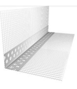 Профиль угловой перфорированный ПВХ 23*23 с армированной сеткой 10*15 L=3 м (25шт)