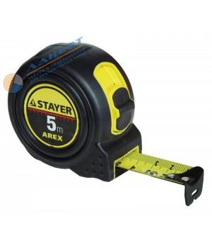 Рулетка 5м*19мм STAYER AREX ударостойкий обрезиненный корпус, 2 фиксатора код 3410-05