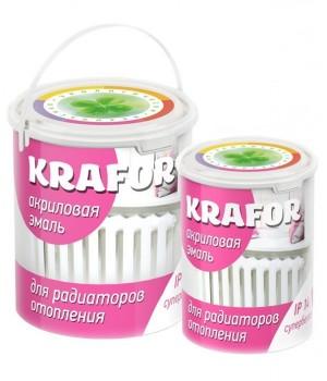 Эмаль акриловая для радиаторов супербелая 1 кг KRAFOR